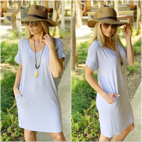 Infinity Raine Dresses & Skirts - Heather gray v Neck tee shirt dress